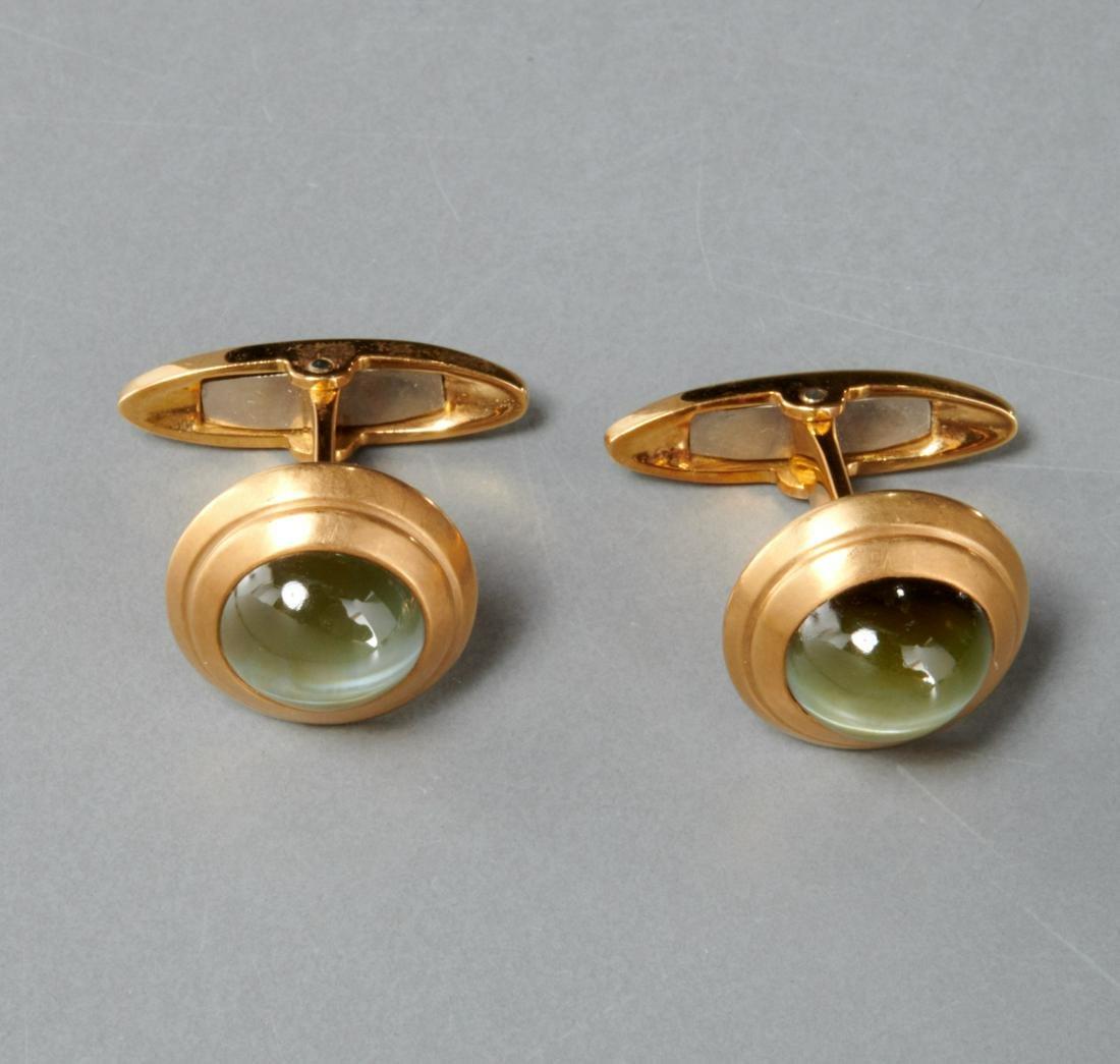 Men's 18k gold and green prehnite cufflinks