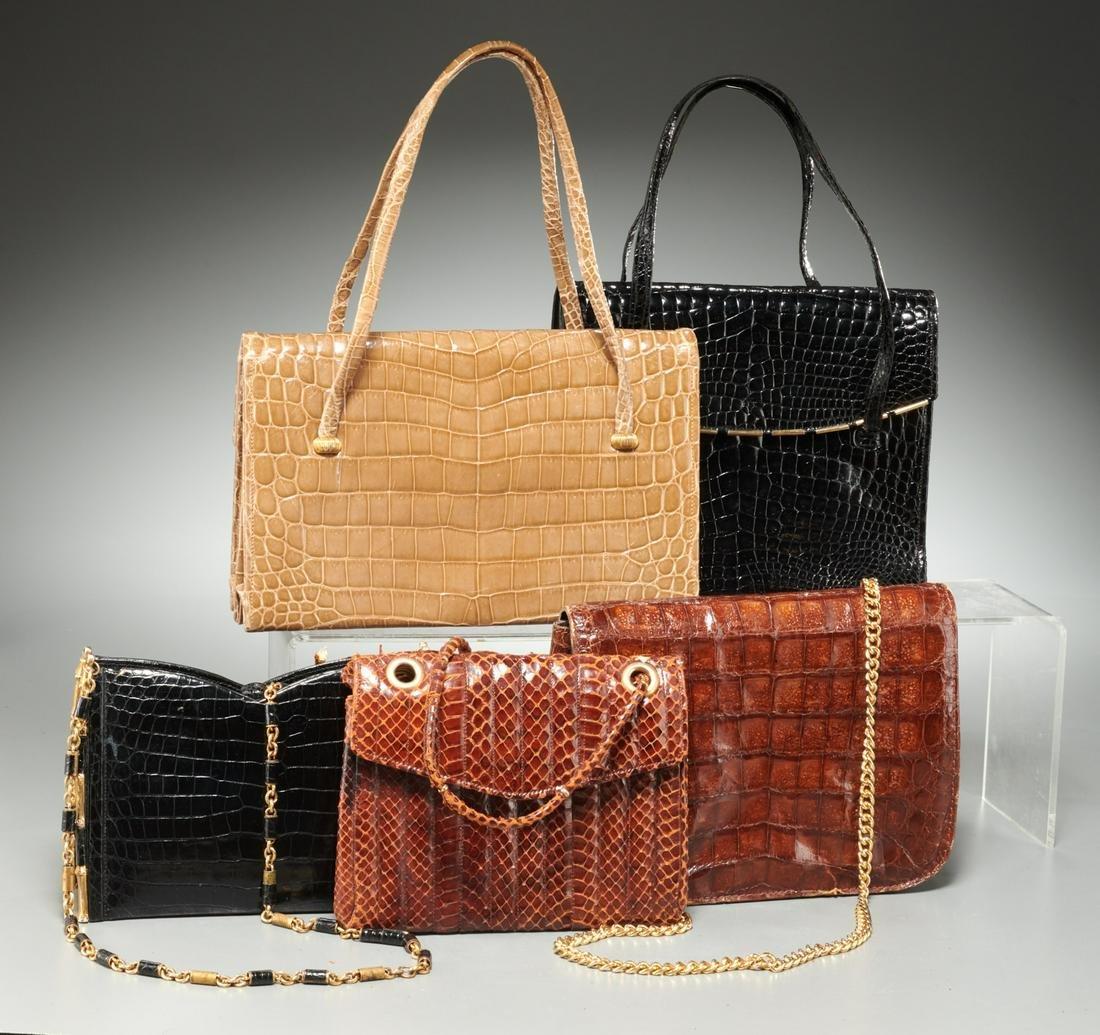 Group of ladies exotic skin handbags