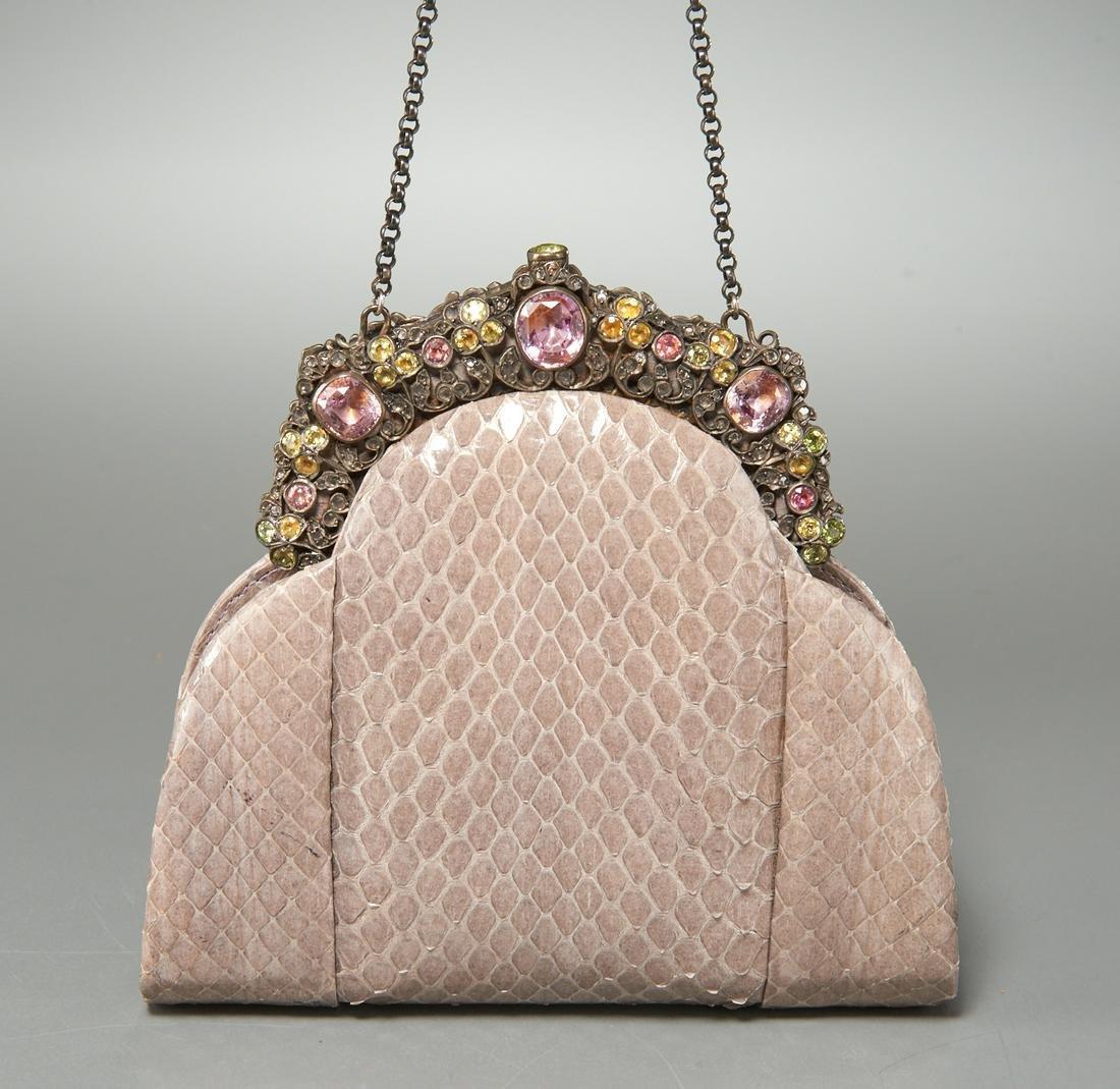Jacomo Paris gray snakeskin evening bag