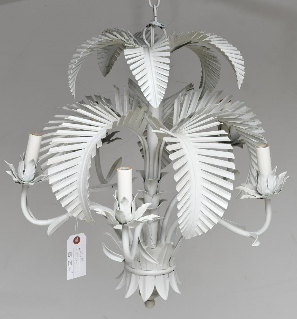 Italian tole palm tree chandelier