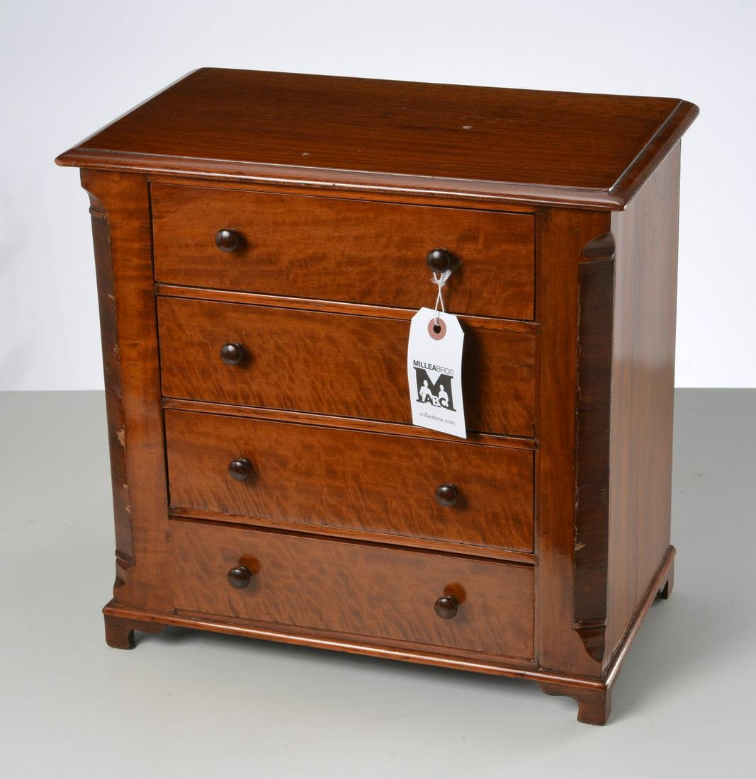 Salesman's sample antique cherry veneered chest