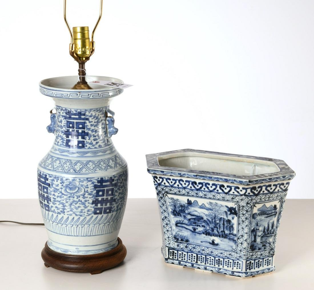 Chinese blue and white lamp and jardiniere