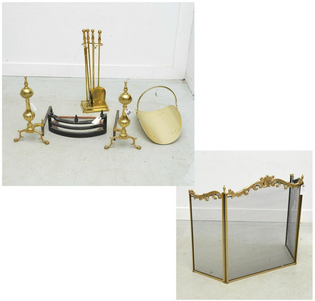 Assembled Continental brass fireplace group
