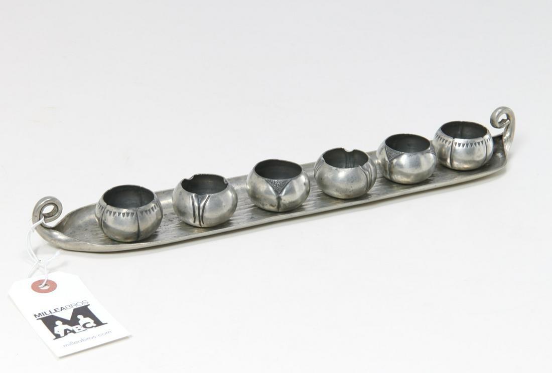 A.E. Chanal French Art Deco pewter salt set