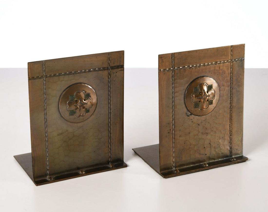 Pair Roycroft hammered copper bookends