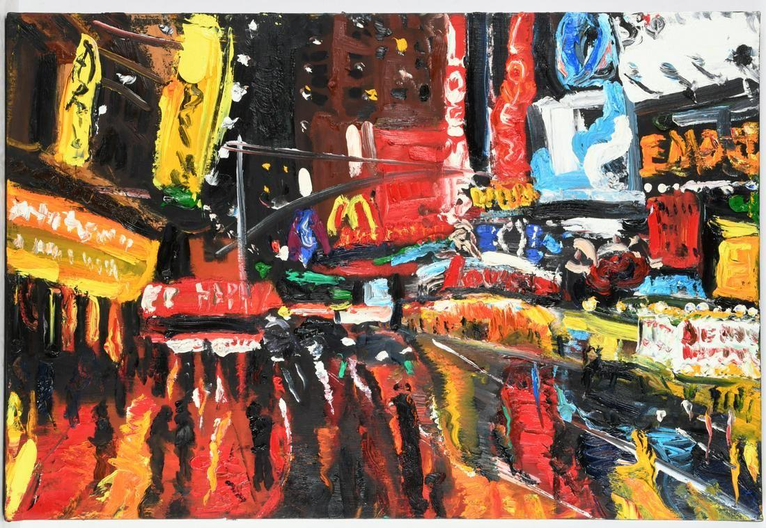 American School, Times Square impasto painting