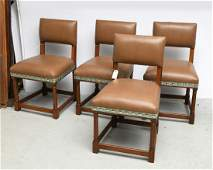 Set 4 Decorator oak and leather dining chairs