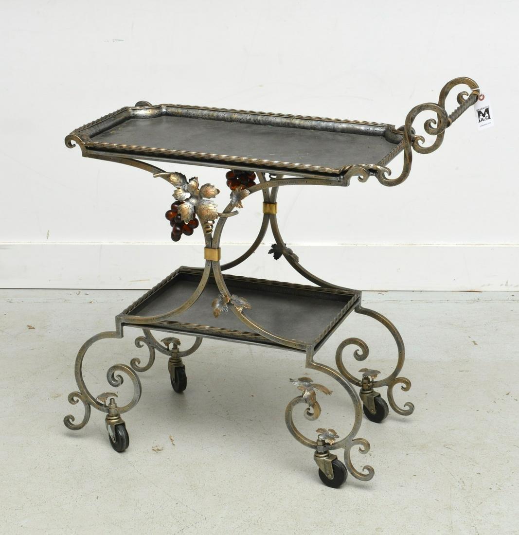 Wrought iron grape cluster tea cart