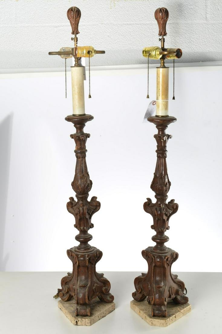 Pair large Italian Baroque style lamps