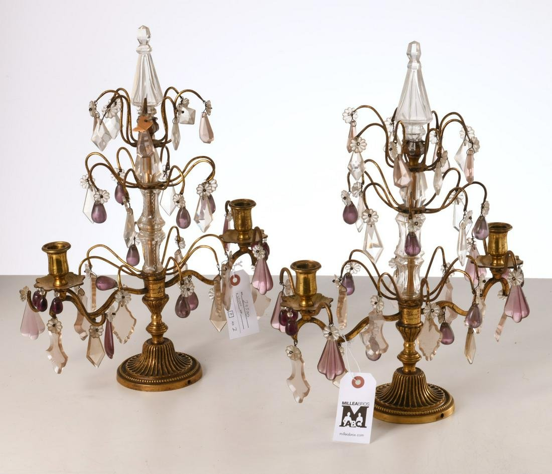 Pair French bronze and crystal girandoles