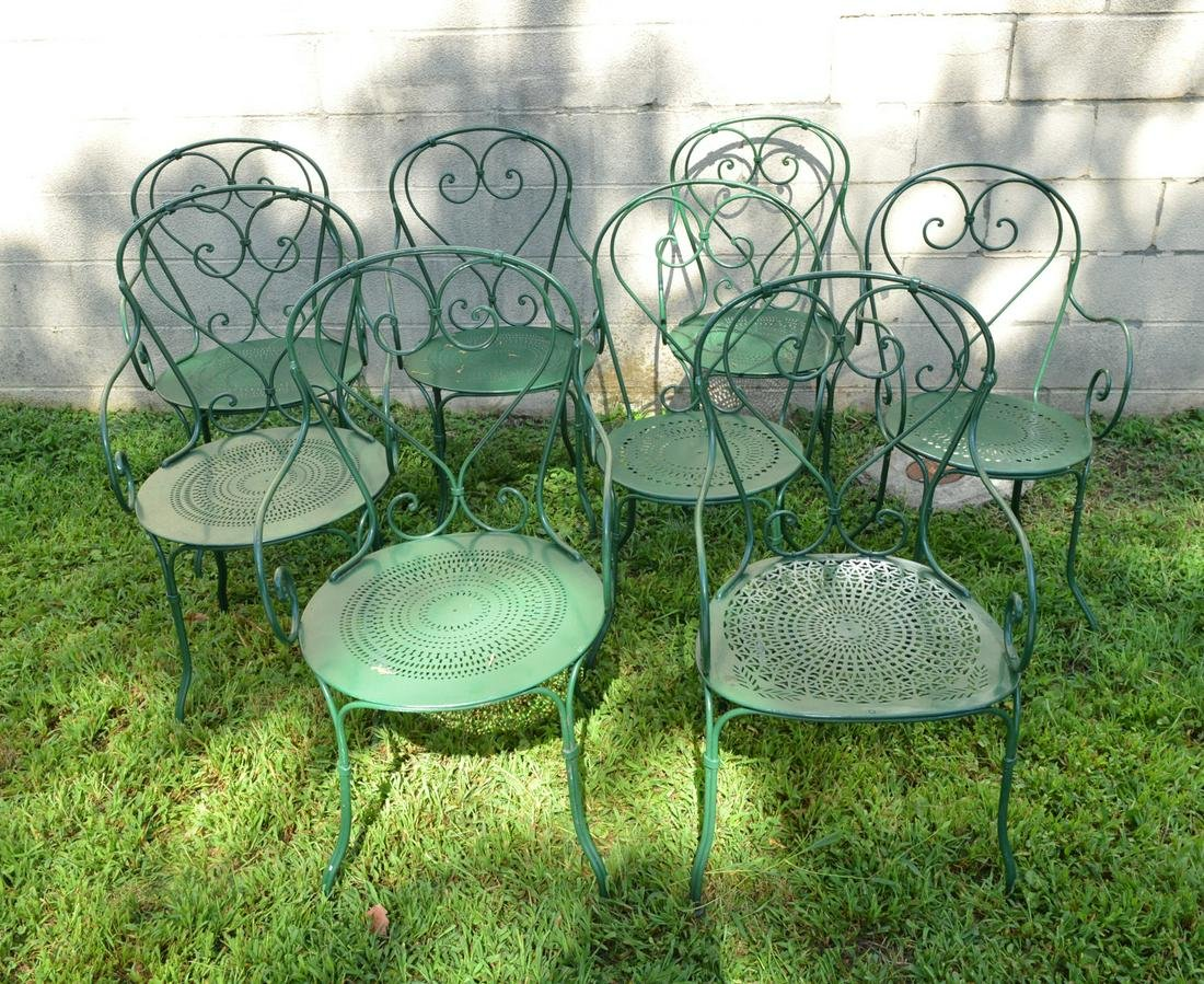 Set (8) French wrought iron garden chairs