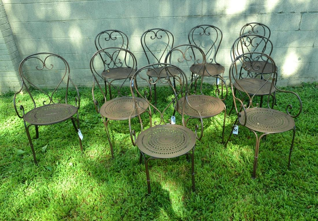 Set (10) French wrought iron garden chairs