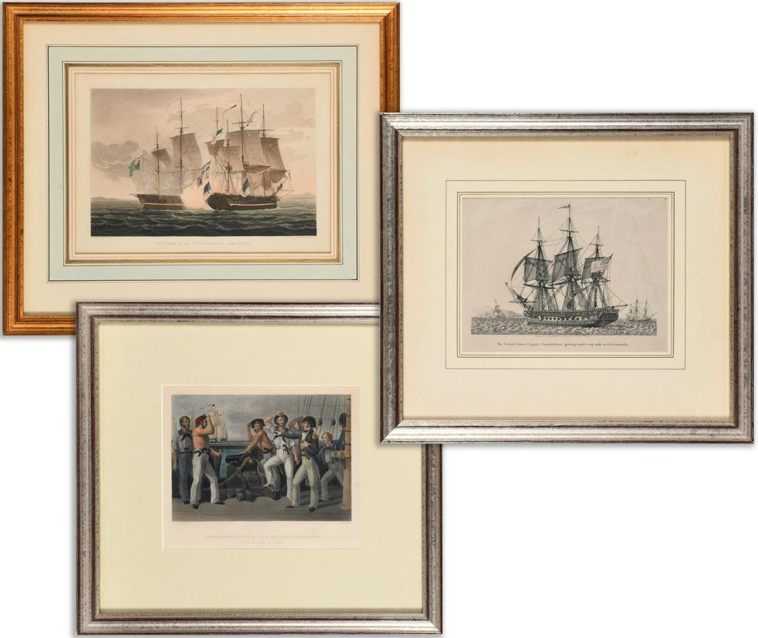 (3) Engravings, Naval Achievements, 19th c.