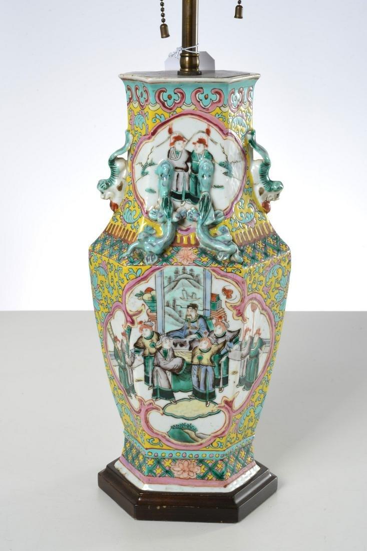 Nice Chinese Famille Vert porcelain vase lamp