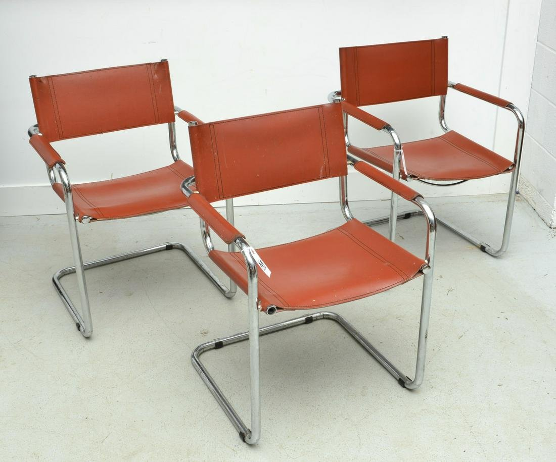 Set (3) Mart Stam style cantilever arm chairs