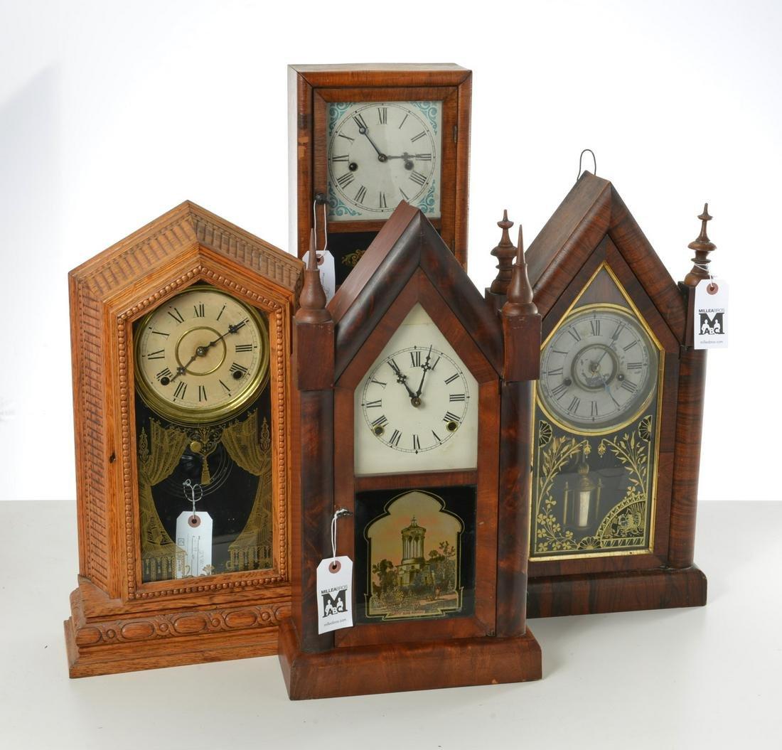 Group (4) antique Connecticut shelf clocks