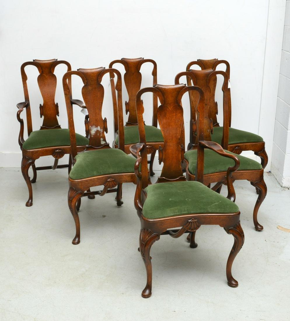 (6) George II style burl inlaid dining chairs