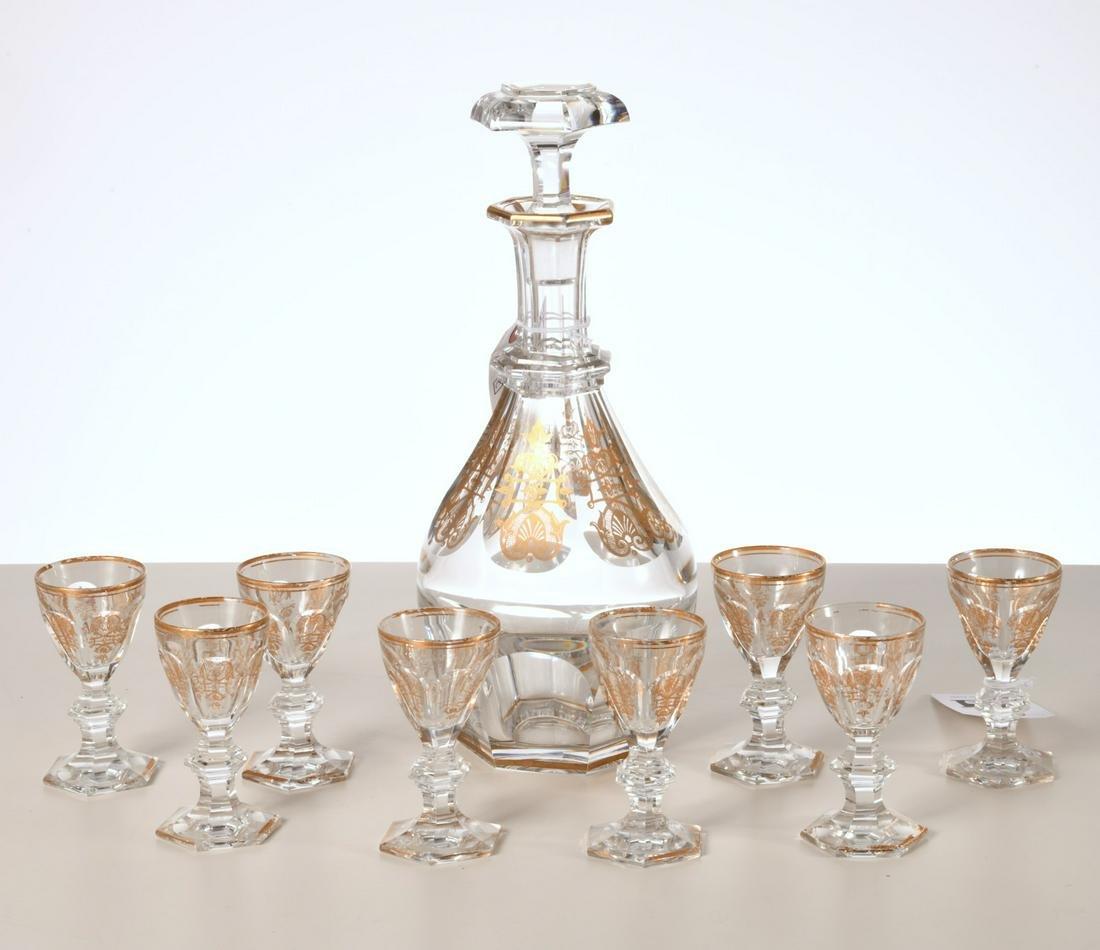 Baccarat gilt crystal liquor set
