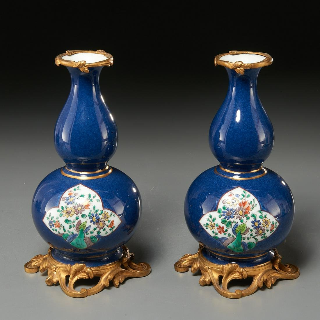 Pair Chinese gilt bronze mounted gourd vases