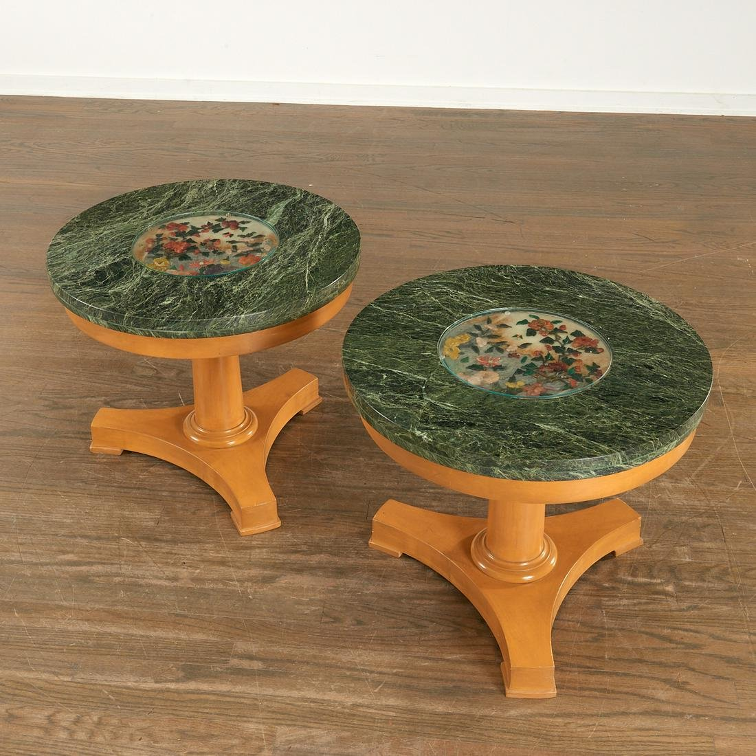 Pair French low tables with Chinese jade plaques