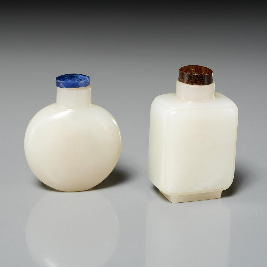 (2) Chinese white jade snuff bottles