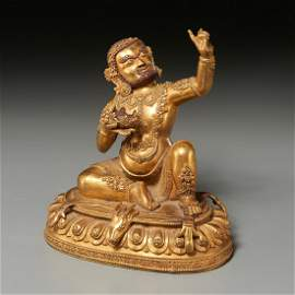 Nice Sino-Tibetan figure of Mahasiddha Virupa