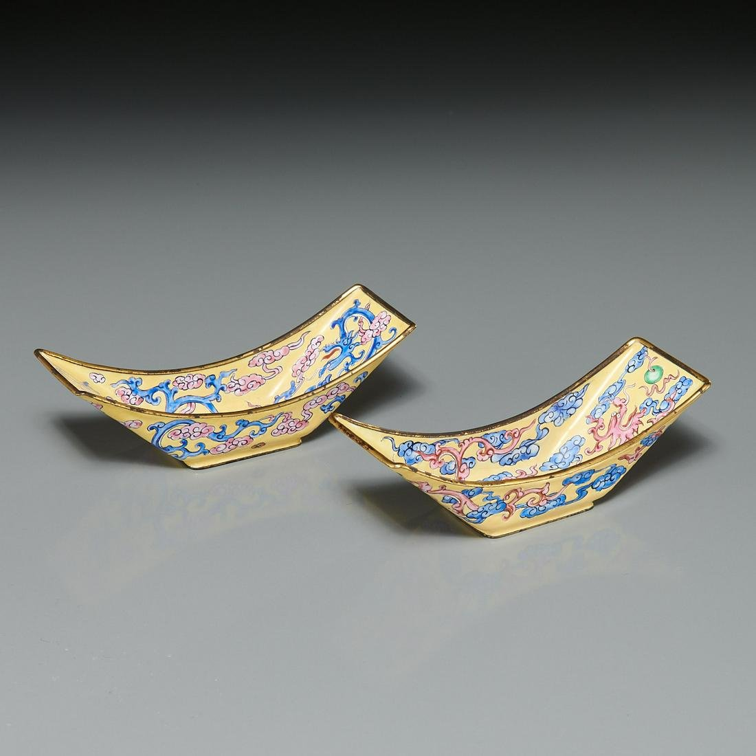 Nice pair Chinese Canton enamel dishes
