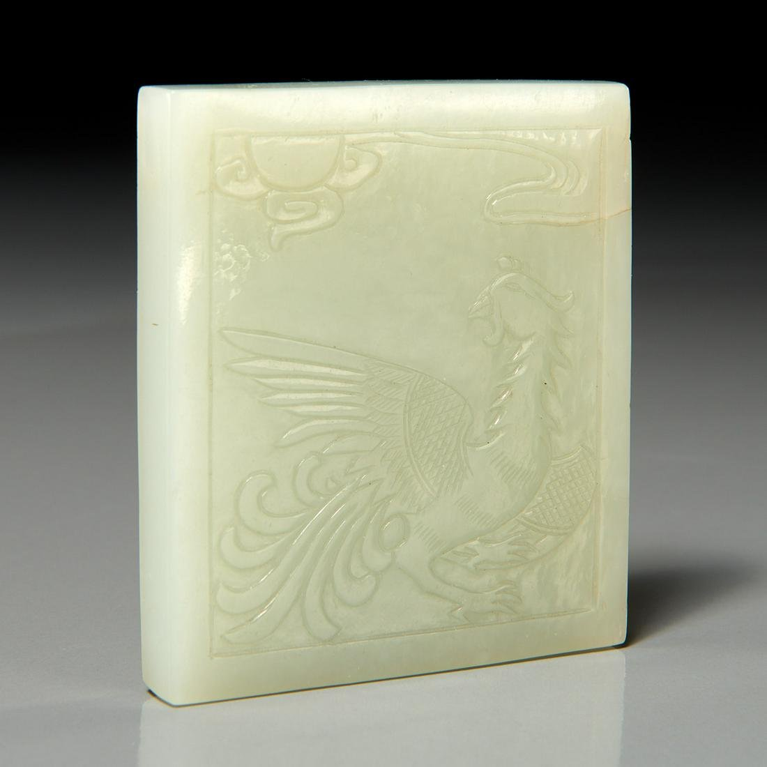 Chinese carved celadon jade plaque