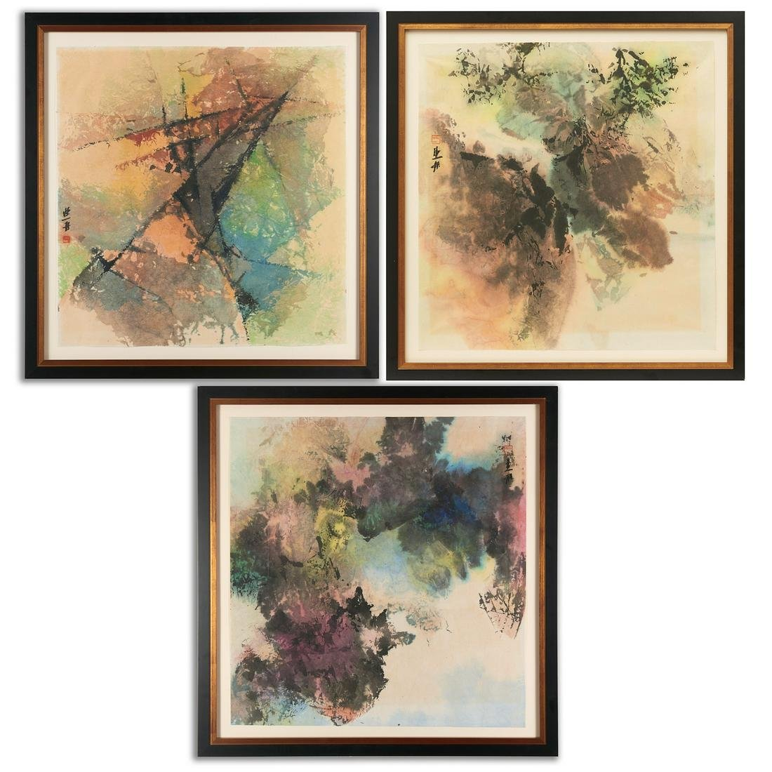 Chinese Modern School, triptych painting
