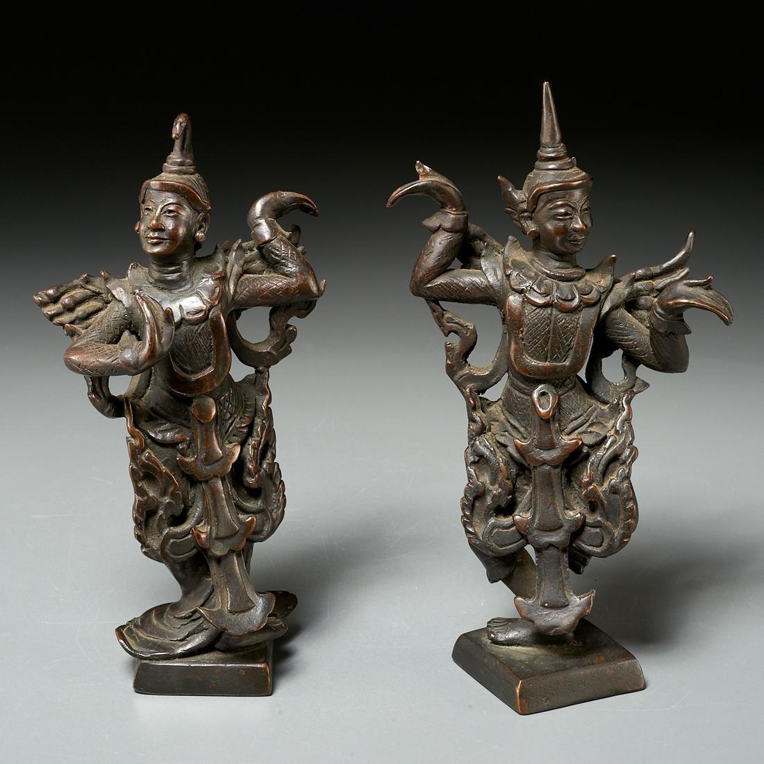 Pair Thai bronze dancing figures