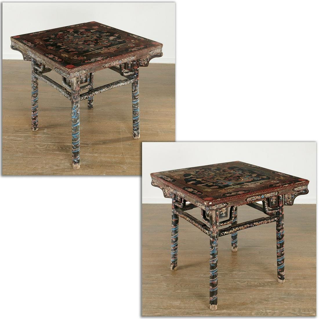 Nice pair Chinese polychrome lacquer tables