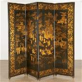 Nice Chinese Export gilt lacquer 4-panel screen