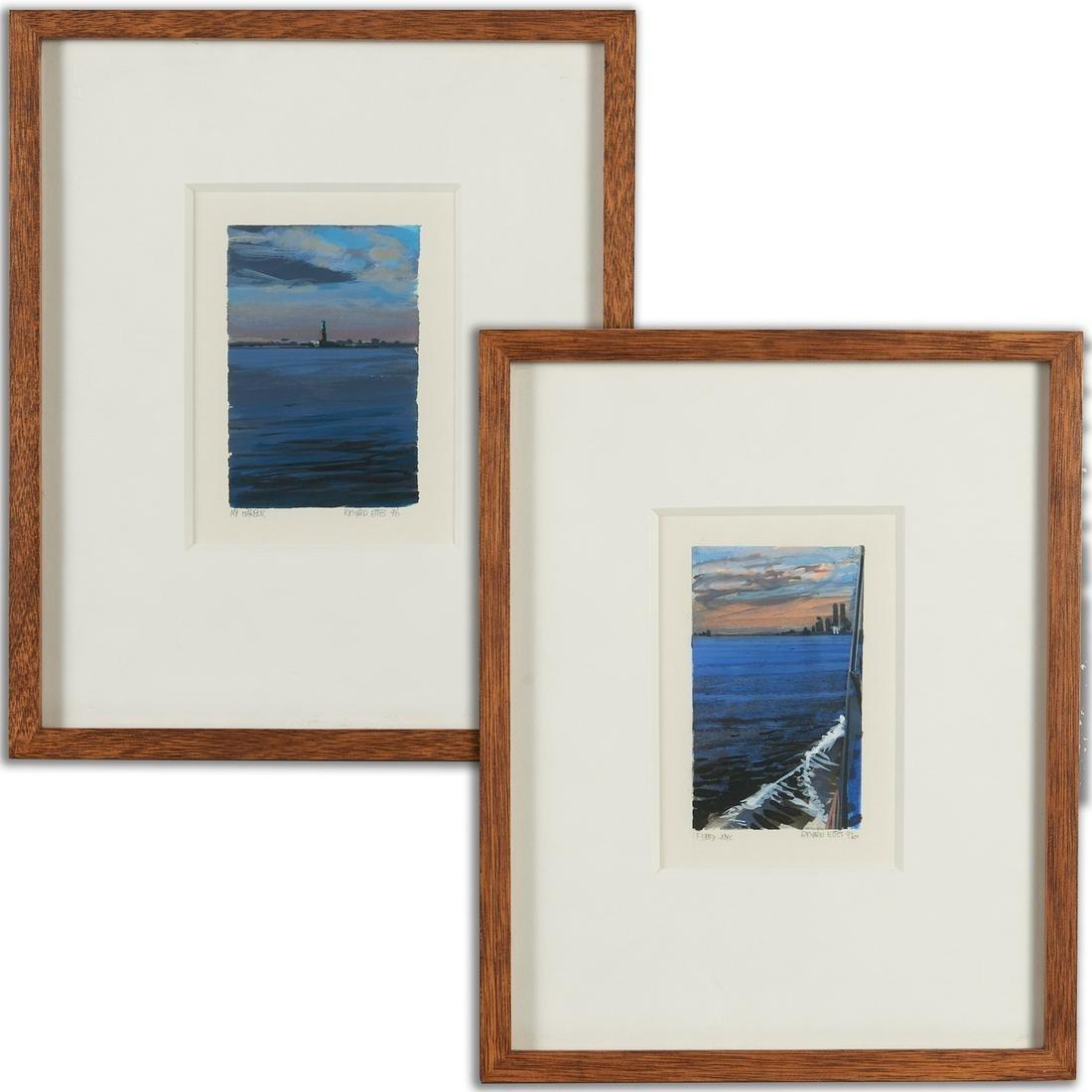 Richard Estes, (2) watercolors on paper, 1996