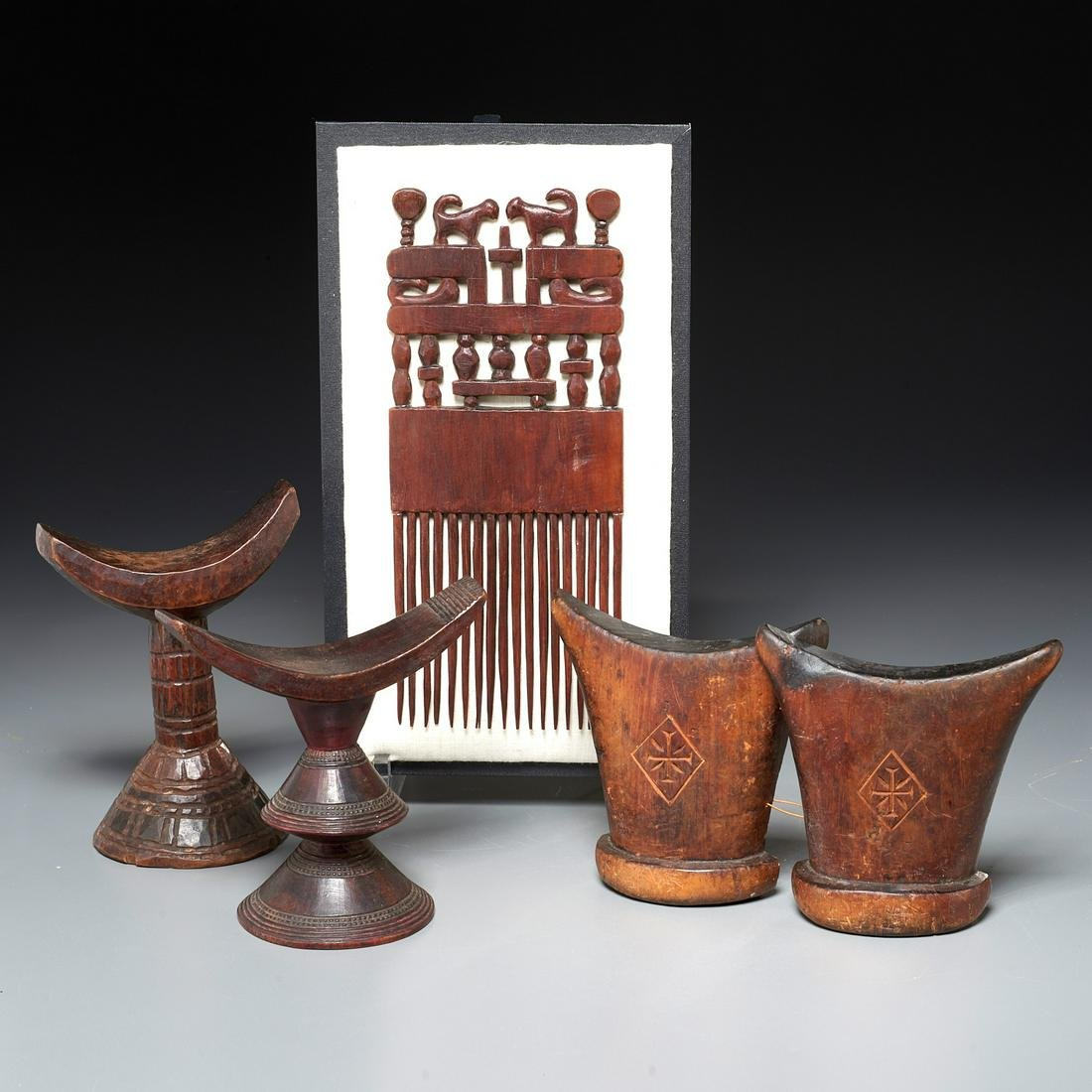 (3) African wood headrests w/ carved figural comb