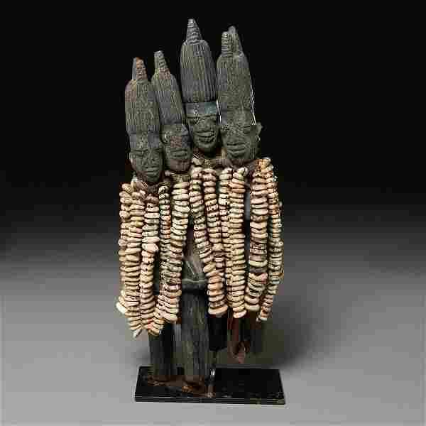 A Yoruba Eshu multi-figure ritual staff