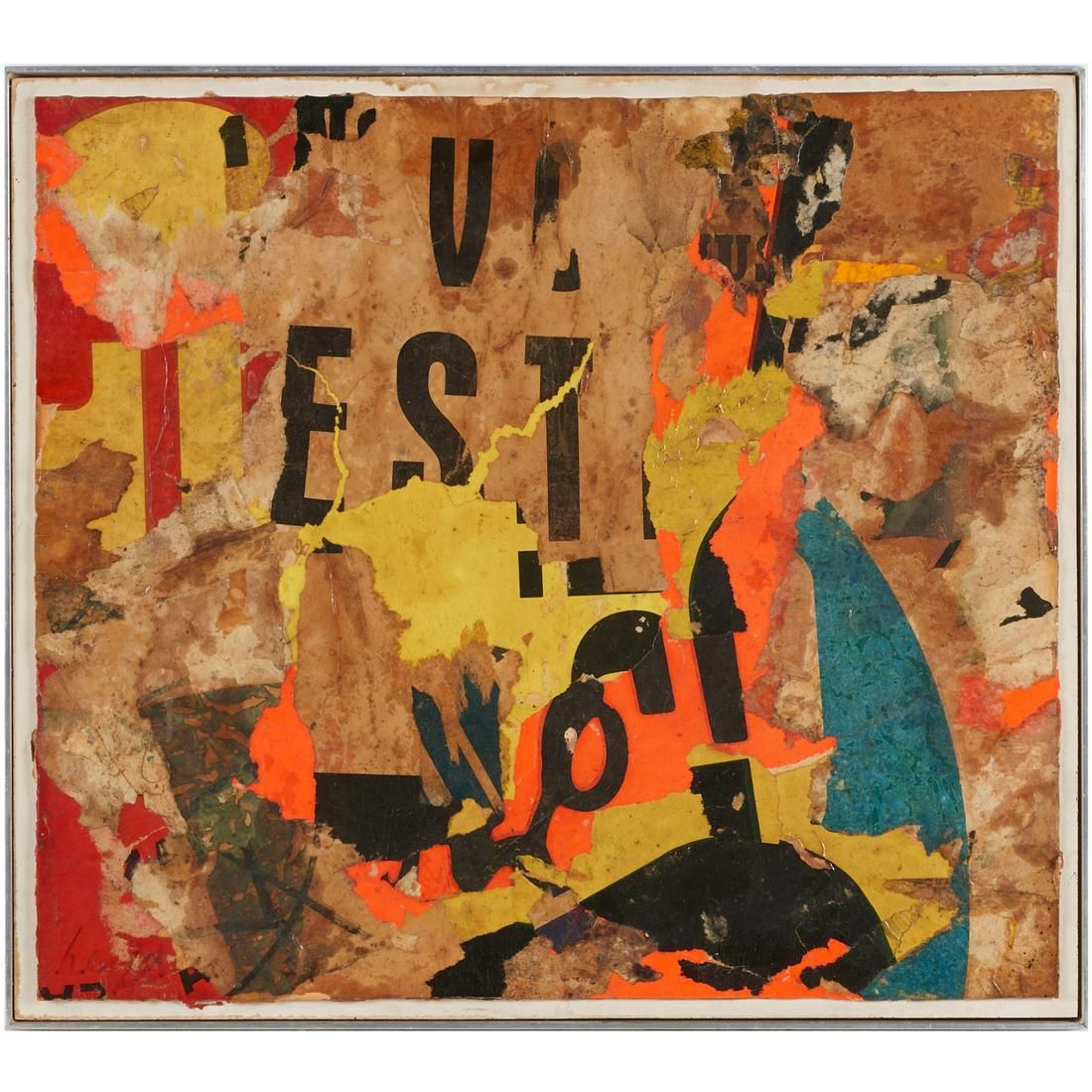 Ernest van Leyden, multimedia painting, c. 1960