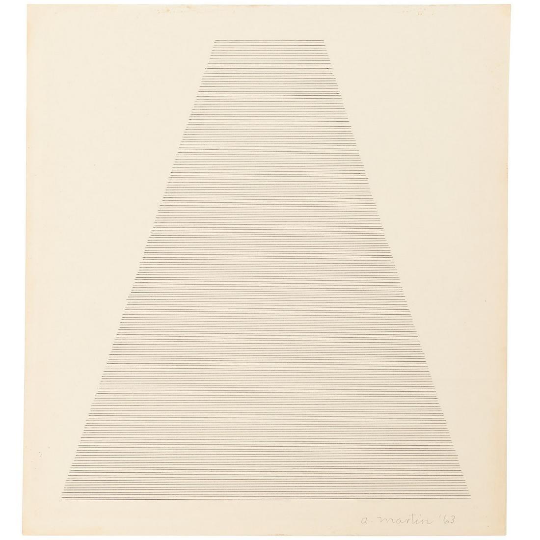 Agnes Martin (attrib.), ink drawing, 1963