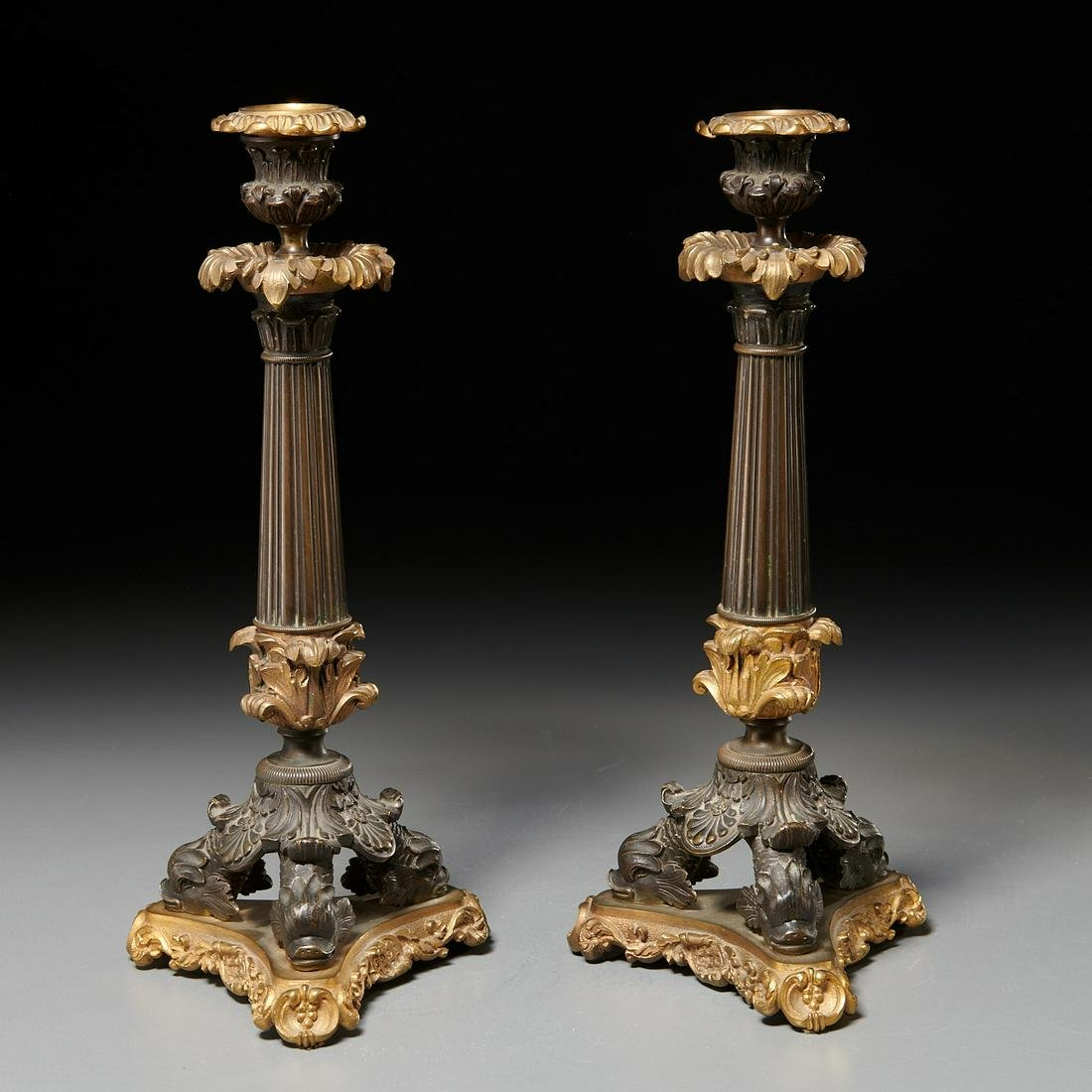 Pair French Restauration bronze candlesticks
