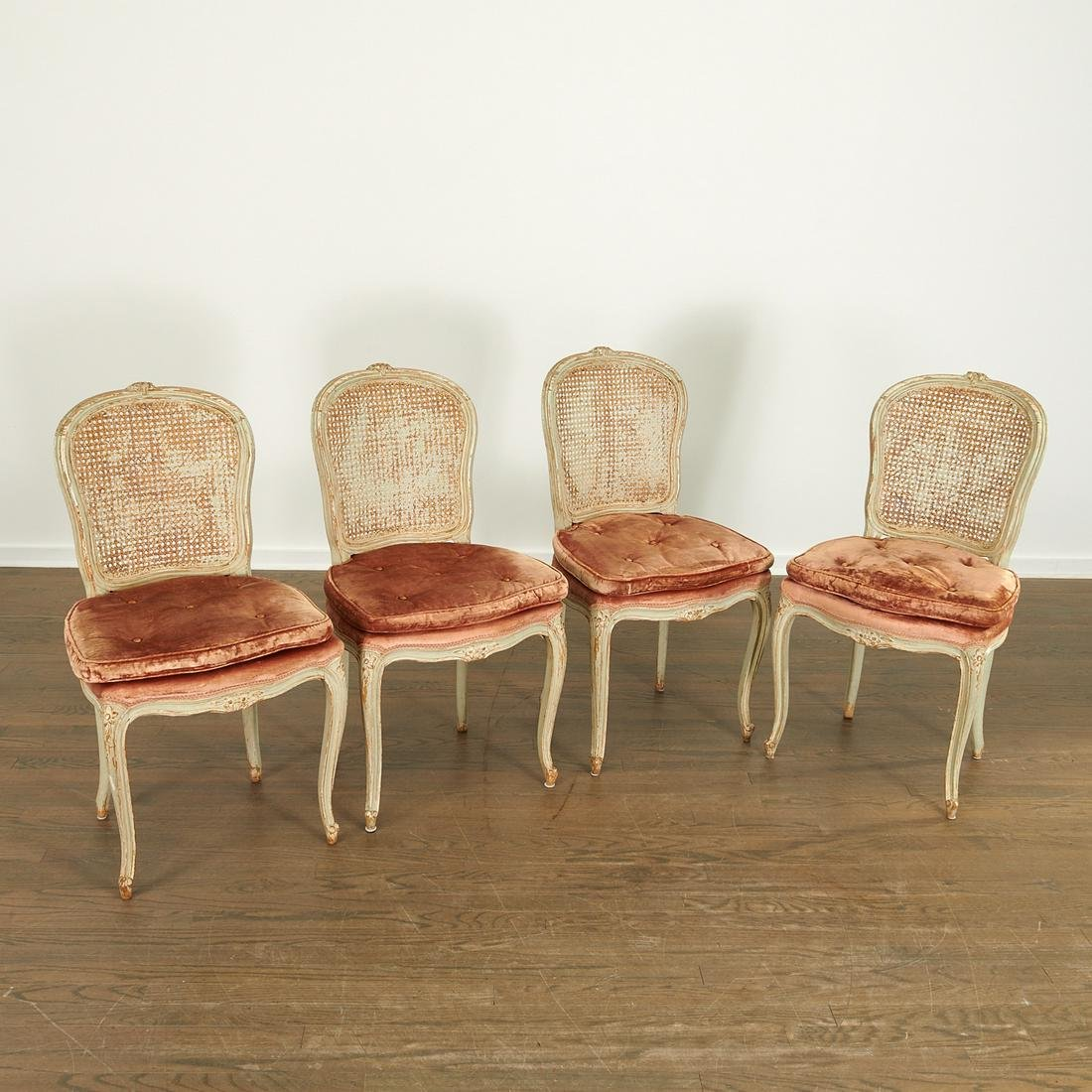 Set (4) Louis XV style painted side chairs
