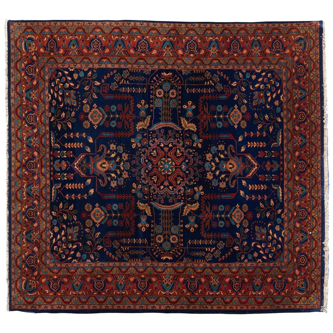 Old blue Mohajeran Sarouk carpet