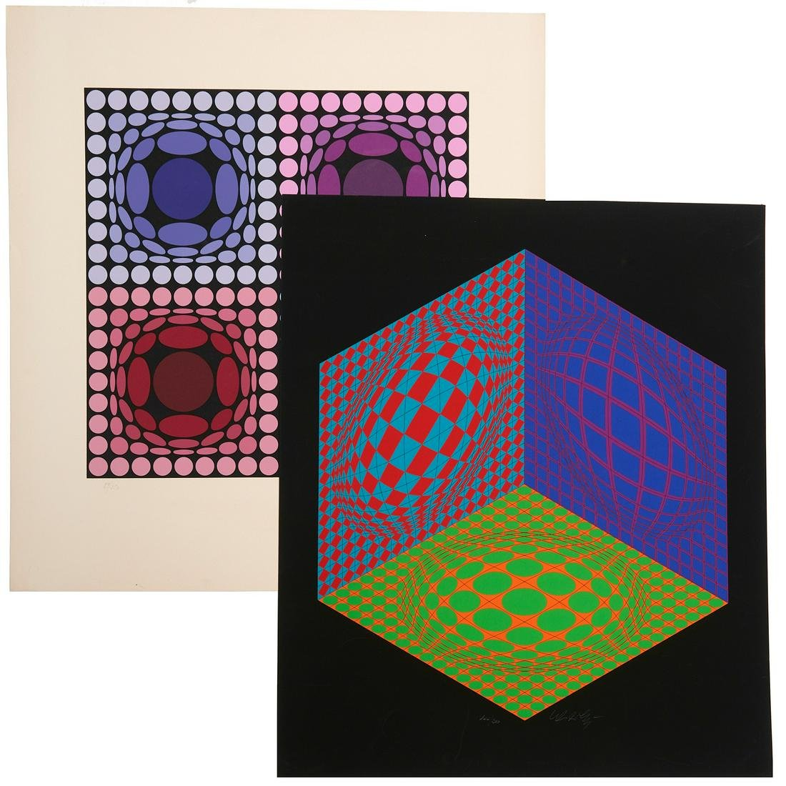 Victor Vasarely, (2) signed serigraphs