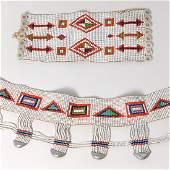 Tribal beaded belt and bracelet