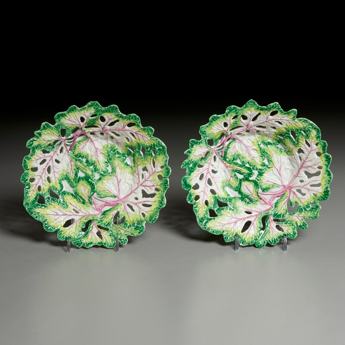 Pair Longton Hall Porcelain Reticulated Dishes