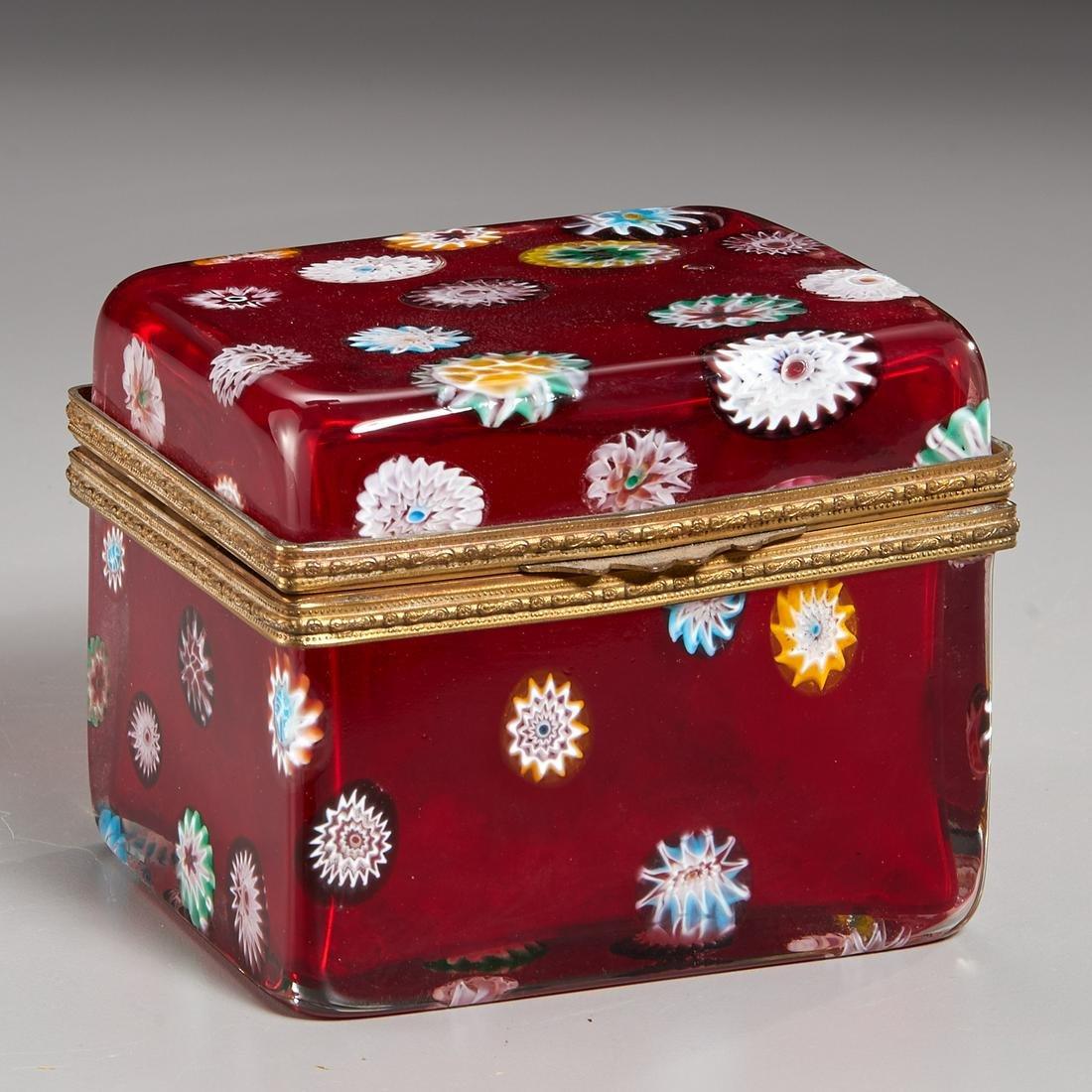 Antique Baccarat (attrib) Millefiori Glass Box