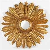 Regency Style Carved Giltwood Sunburst Mirror