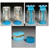 Group French Blue Opaline Glass Tablewares