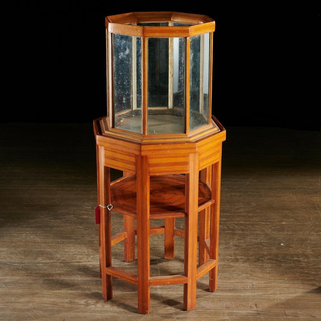 Antique inlaid wood terrarium or aquarium