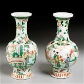 Pair Chinese famille vert bottle vases