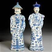 Pair large Chinese porcelain blue & white figures