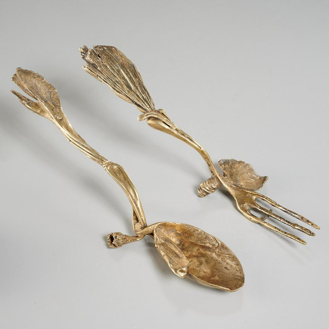 Claude LaLanne, vermeil Iolas fork and spoon
